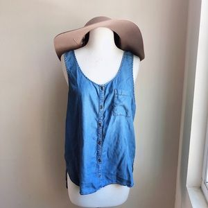 Mudd Lyocell Tank with Button Front and Pockets
